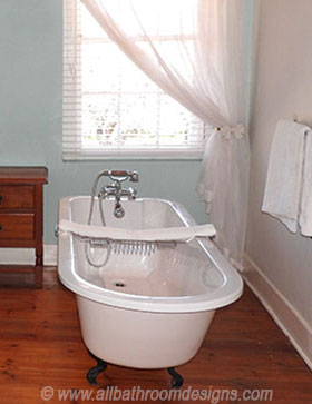 antique tub on wooden floor