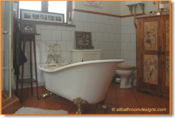 claw foot tub in centre of room