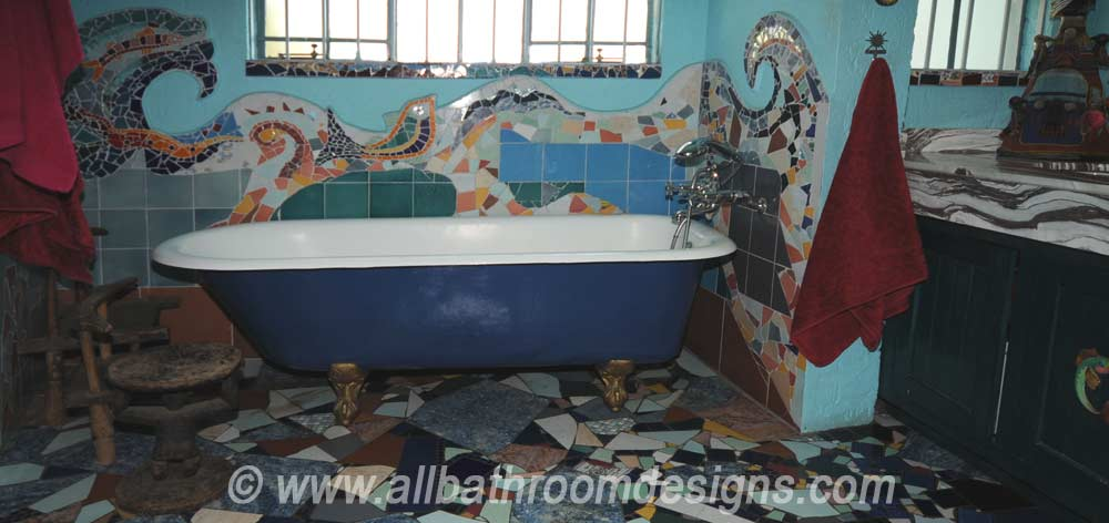 claw foot tub against mosaics