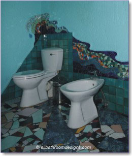 btoilet and bidet with mosaic wall