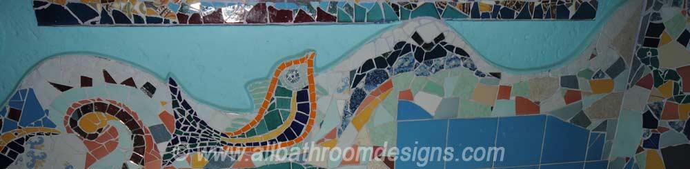 mosaic motif on bathroom wall