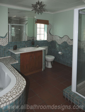mosaic patterns in bathroom