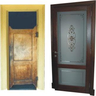 etched bathroom doors