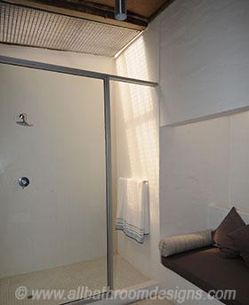 light streaming in from bathroom skylight
