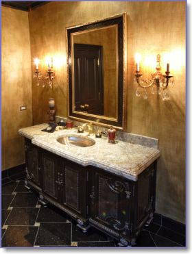 classical vanity with wall lighting