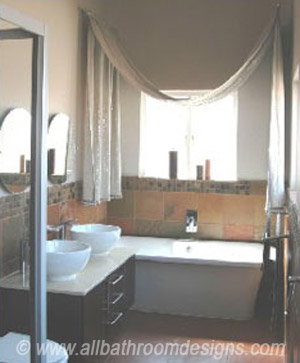 bathroom draped curtains
