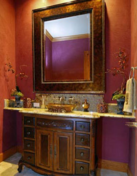 rich colors in bathroom