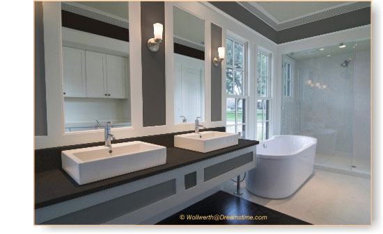 black and white bathroom. Black will absorb light, whilst white is the