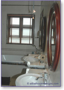 brown and white bathroom