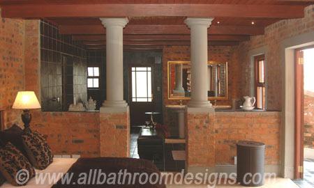 rustic open plan bathroom