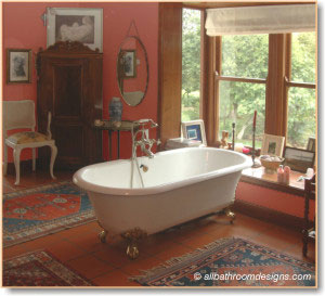 Red bathroom design and decor inspiration for Victorian style bathroom accessories