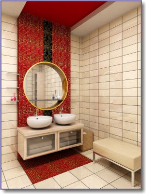 Red bathroom design and decor inspiration for Red and white bathroom accessories
