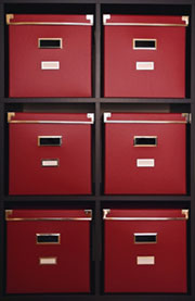 red bathroom storage