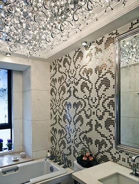 intricate ceiling light in bathroom