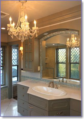 crystal chandelier in bathroom