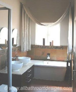 bathroom draped curtains