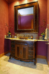red and purple bathroom